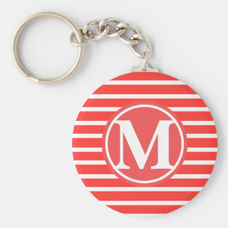 Red Stripe Pattern Monogrammed Basic Round Button Keychain