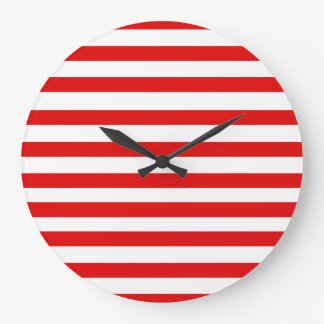 Red Stripe Round (Large) Wall Clock