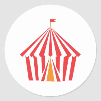 Red Stripe Tent Classic Round Sticker