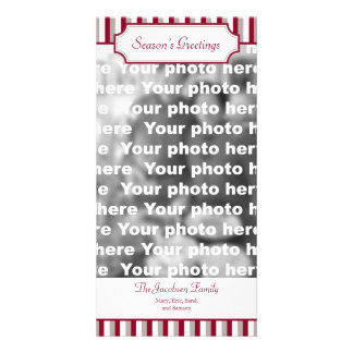 Red stripe vertical Christmas holiday greeting Photo Greeting Card
