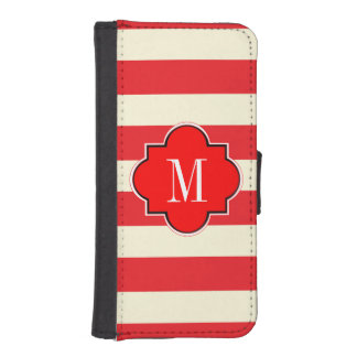 Red stripe wallet phone case for iPhone SE/5/5s