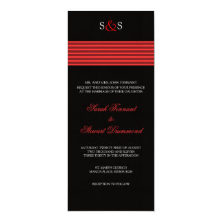 Red Stripe Wedding Invitation - slim