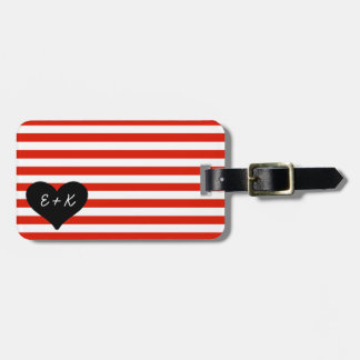 Red Striped Black Heart Luggage Tag