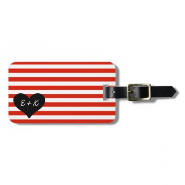 Valentines Themed Red Striped Black Heart Luggage Tag