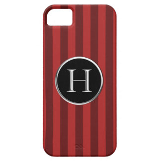 Red Striped Black/Silver Caslon H Monogram iPhone SE/5/5s Case