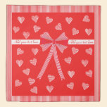 Red striped border and a red center with hearts duvet cover