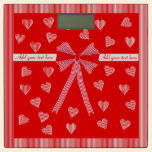 Red striped border and a red centre with hearts bathroom scale