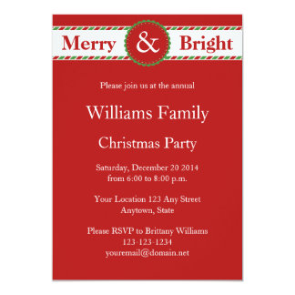 "Red Striped Christmas Holiday Party Invitations 5"" X 7"" Invitation Card"