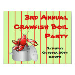 """Red Striped Crawfish Boil Party Custom Annual Year 4.25"""" X 5.5"""" Invitation Card"""