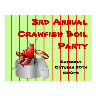 Red Striped Crawfish Boil Party Custom Annual Year Postcard
