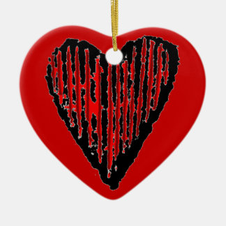 Red Striped Engraved Heart Double-Sided Heart Ceramic Christmas Ornament