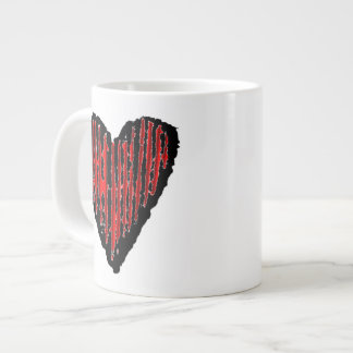 Red Striped Engraved Heart Giant Coffee Mug