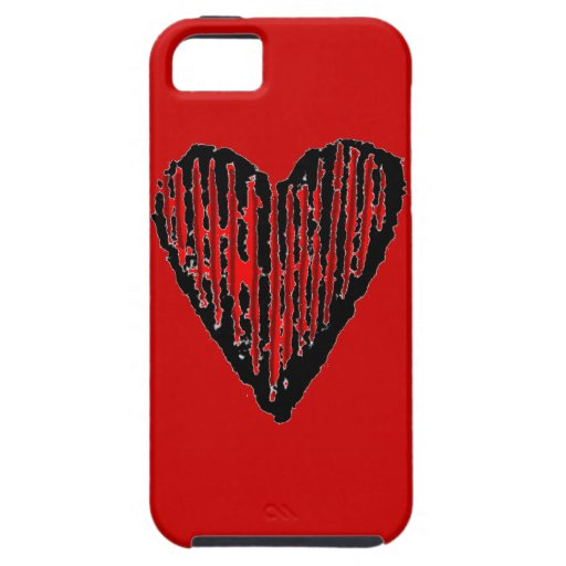 Red Striped Engraved Heart iPhone 5 Cases