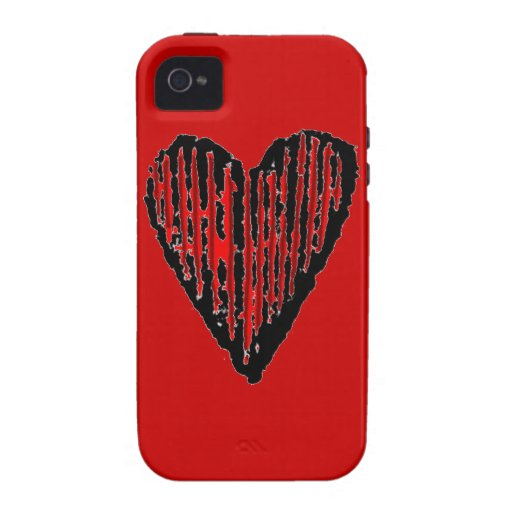 Red Striped Engraved Heart Vibe iPhone 4 Cases