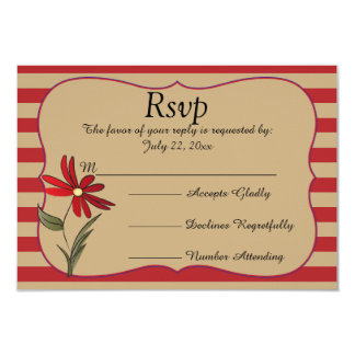 Red Striped Flower Collection Card