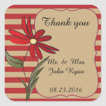 Red Striped Flower Collection Square Sticker