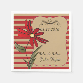 Red Striped Flowers Paper Napkin