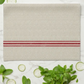 Red Striped Grain Sack Inspired Towel