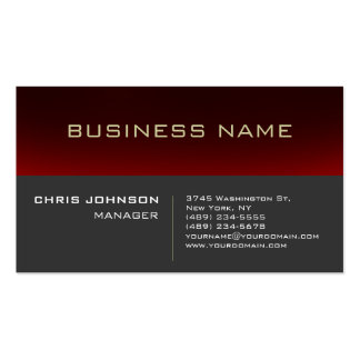 Red Striped Gray Background Manager Business Card