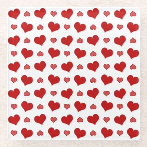 Red Striped Heart Pattern Glass Coaster