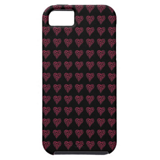 Red Striped Hearts – Black iPhone 5 Cover Case