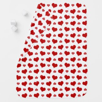 Red Striped Hearts Receiving Blanket