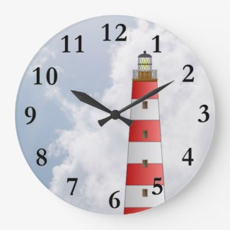 Red Striped Lighthouse in the Clouds Beach Theme Round Wallclock