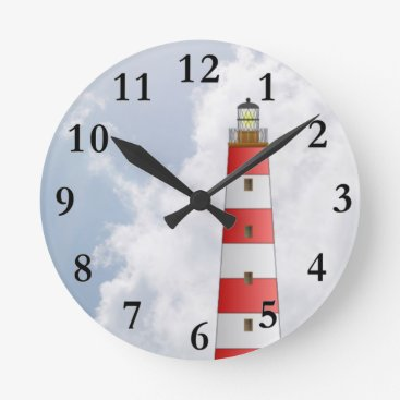 Beach Themed Red Striped Lighthouse in the Clouds Beach Theme Round Clock