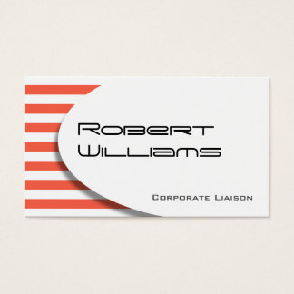 Red Striped Modern Professional Business Card