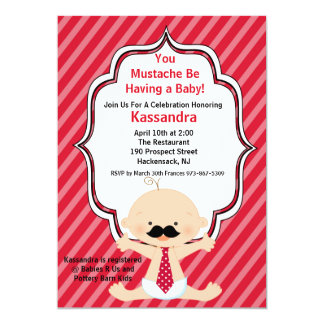 Red Striped Mustache Baby Shower Invitation