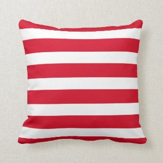 Red Striped Outdoor or Indoor Throw Pillow