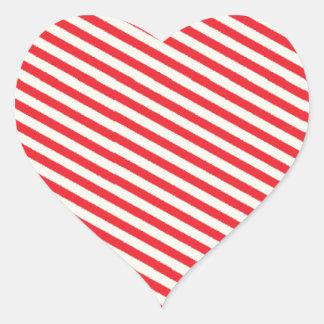 Red Striped Pattern Heart Sticker