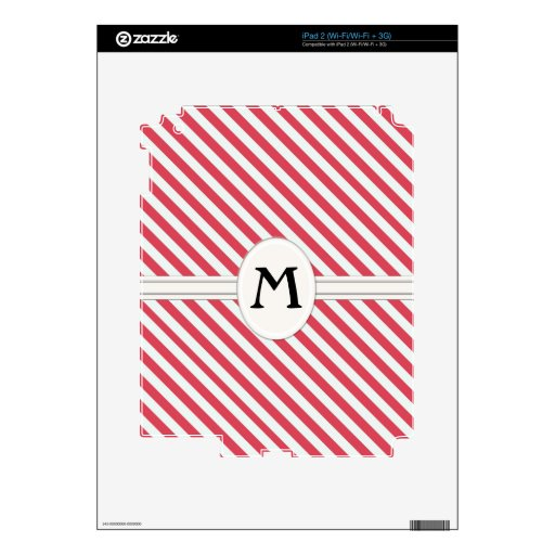 Red Striped Pattern Monogram eReader iPad 2 Decals