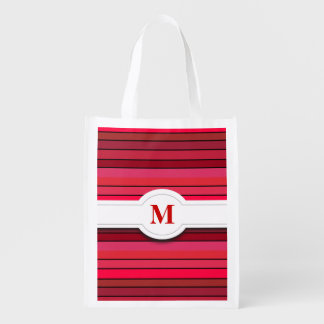 Red striped pattern Reusable Bag Reusable Grocery Bags