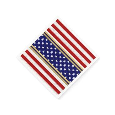 USA Themed Red Striped Stars USA Paper Napkin