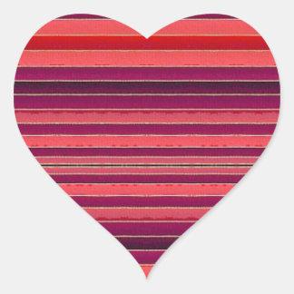 Red Striped Stripes Heart Sticker