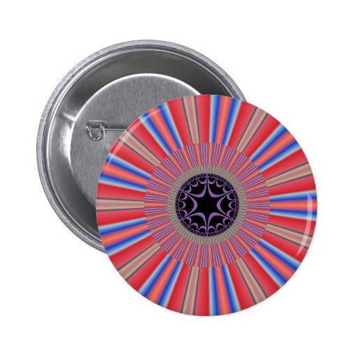 Red Striped Sunburst Fractal 2 Inch Round Button