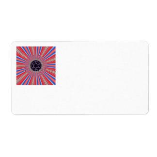 Red Striped Sunburst Fractal Label