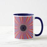 Red Striped Sunburst Fractal Mug