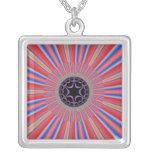 Red Striped Sunburst Fractal Square Pendant Necklace