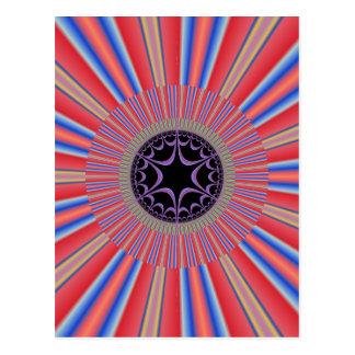 Red Striped Sunburst Fractal Postcard