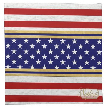 USA Themed Red Striped USA Stars Blue-Gold Cloth Napkin