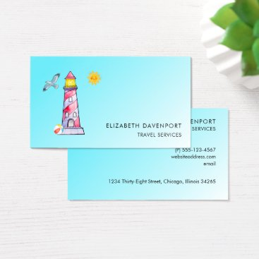 Beach Themed Red Striped Watercolor Lighthouse Business Card