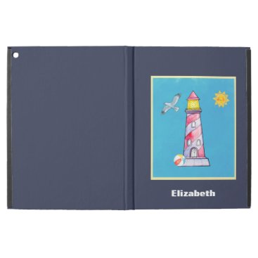 "Beach Themed Red Striped Watercolor Lighthouse Custom iPad Pro 12.9"" Case"