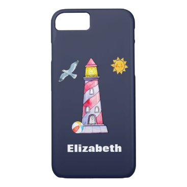 Beach Themed Red Striped Watercolor Lighthouse Custom iPhone 7 Case