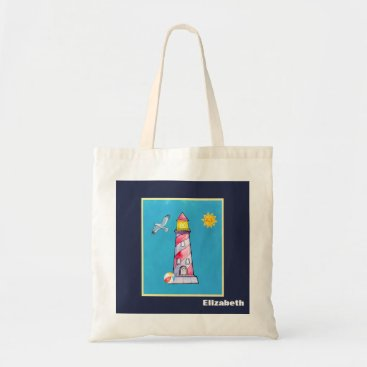 Beach Themed Red Striped Watercolor Lighthouse Personalized Tote Bag