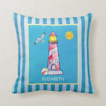 Beach Themed Red Striped Watercolor Lighthouse Throw Pillow