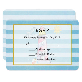 Red Striped Watercolor Lighthouse Wedding RSVP Card