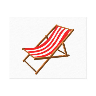 red striped wooden beach chair.png gallery wrap canvas