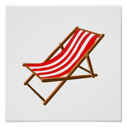 red striped wooden beach chair.png posters